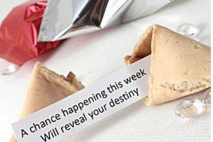 wedding fortune cookies with traditional fortunes inside